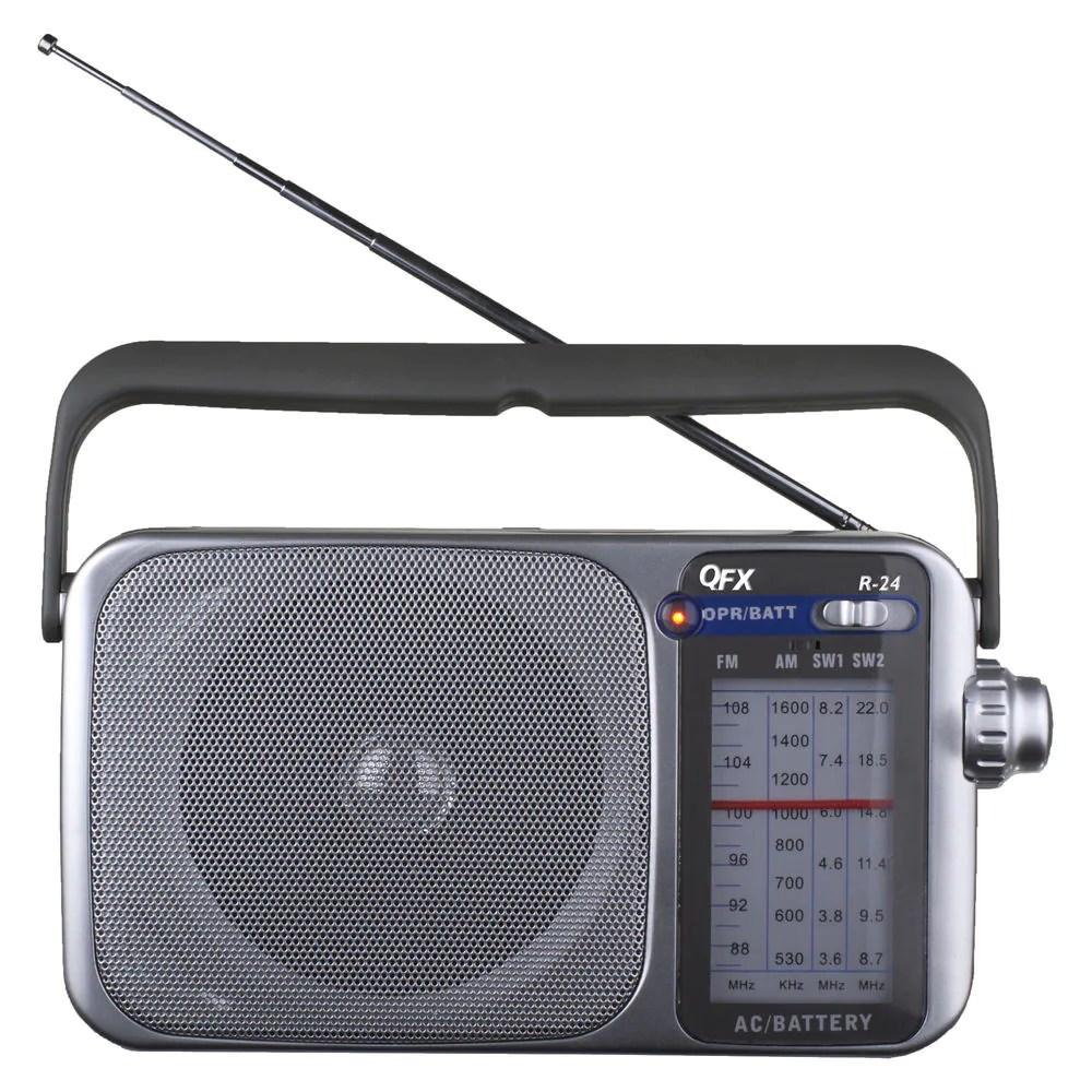 R 24 Portable AM FM SW1 SW2 Radio  Silver  India     Tanotis QFX R 24 Portable AM FM SW1 SW2 Radio  Silver