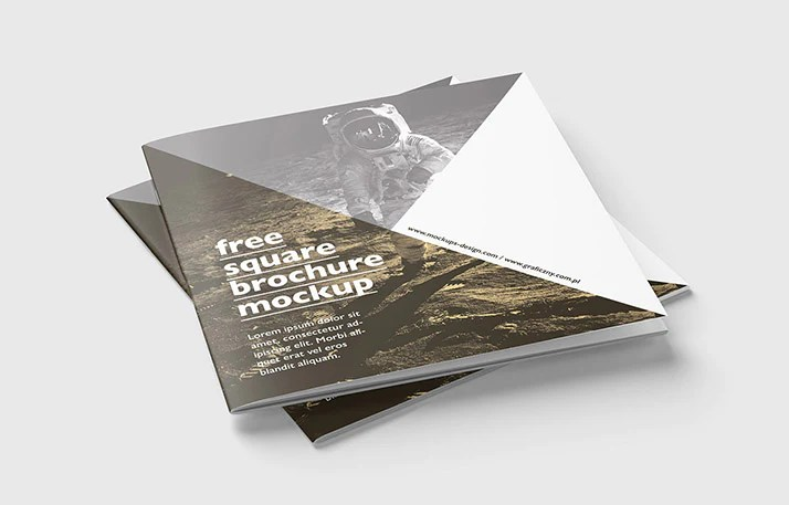 Free Brochure Mockups   CreativeBooster Free Great Collection of Clean Square Brochure Mockups 5 Angles and VIews  Included