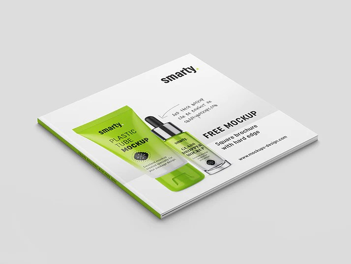 Free Brochure Mockups   CreativeBooster Free Square Brochure Book with Hard Edge Mockup