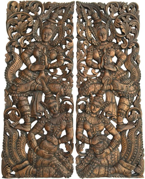 Prodigious Thai Figure Carved Wood Wall Decor Asian Home Wood Carving Quality Wall Thai Carved Teak Wood Wall Wood Wall Decor Panels Wood Wall Decor Etsy