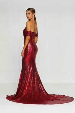 Christmas Silicya Gown Wine Red Sequin Off Shoulder Drapes Mermaid Dress Silicya Gown Wine Red Sequin Dress Drapes Detail Sweep Train Red Sequin Dress Amazon Red Sequin Dress Fashion Nova