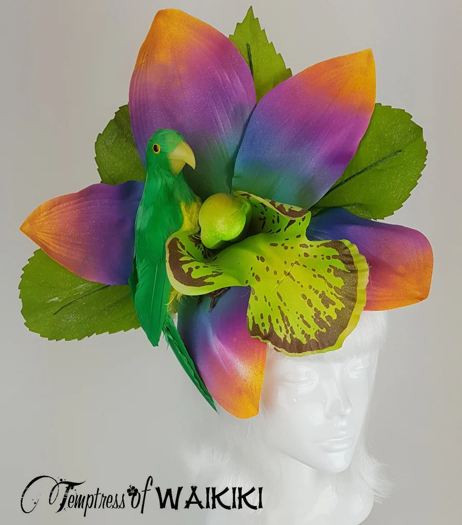 Giant Rainbow Orchid Parrot Hat Hedonism