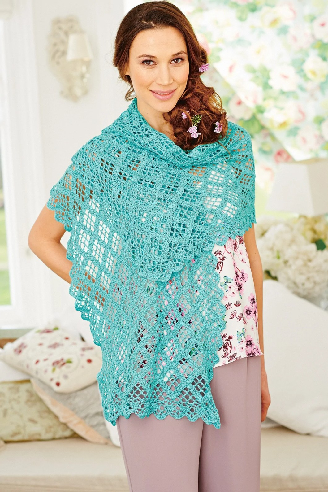 Summer Shawl Find Your World Silk Mohair Shawlette Allfreecrochetcom Crochet Pattern The Knitting Network