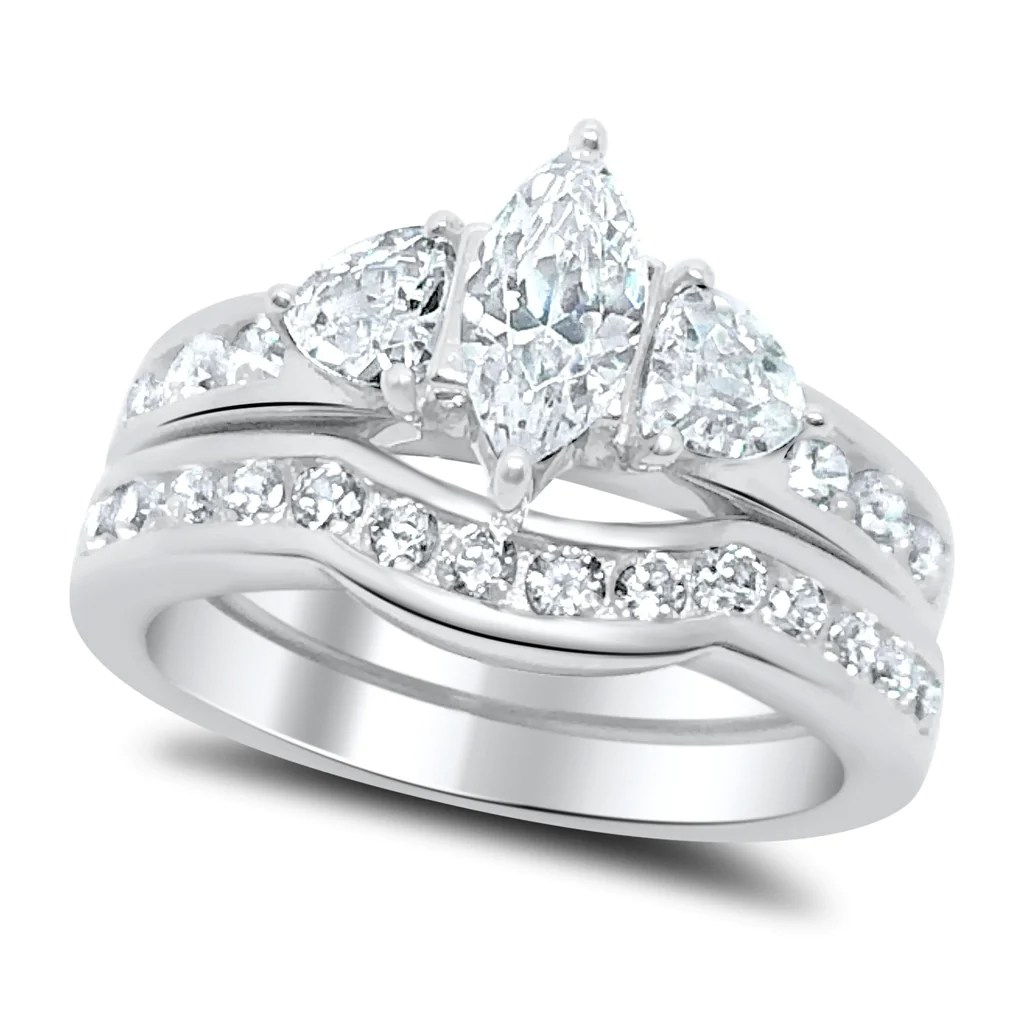 cz wedding sets wedding sets Marquise Cut CZ Wedding Ring Set Sterling Silver LaRaso Co 1