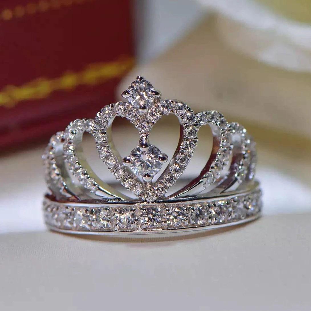 Top Silver Princess Crown Zircon Inlay Engagement Ring Silver Princess Crown Zircon Inlay Engagement Ring Princess Crown Ring Silver Princess Crown Ring James Avery wedding rings Princess Crown Ring