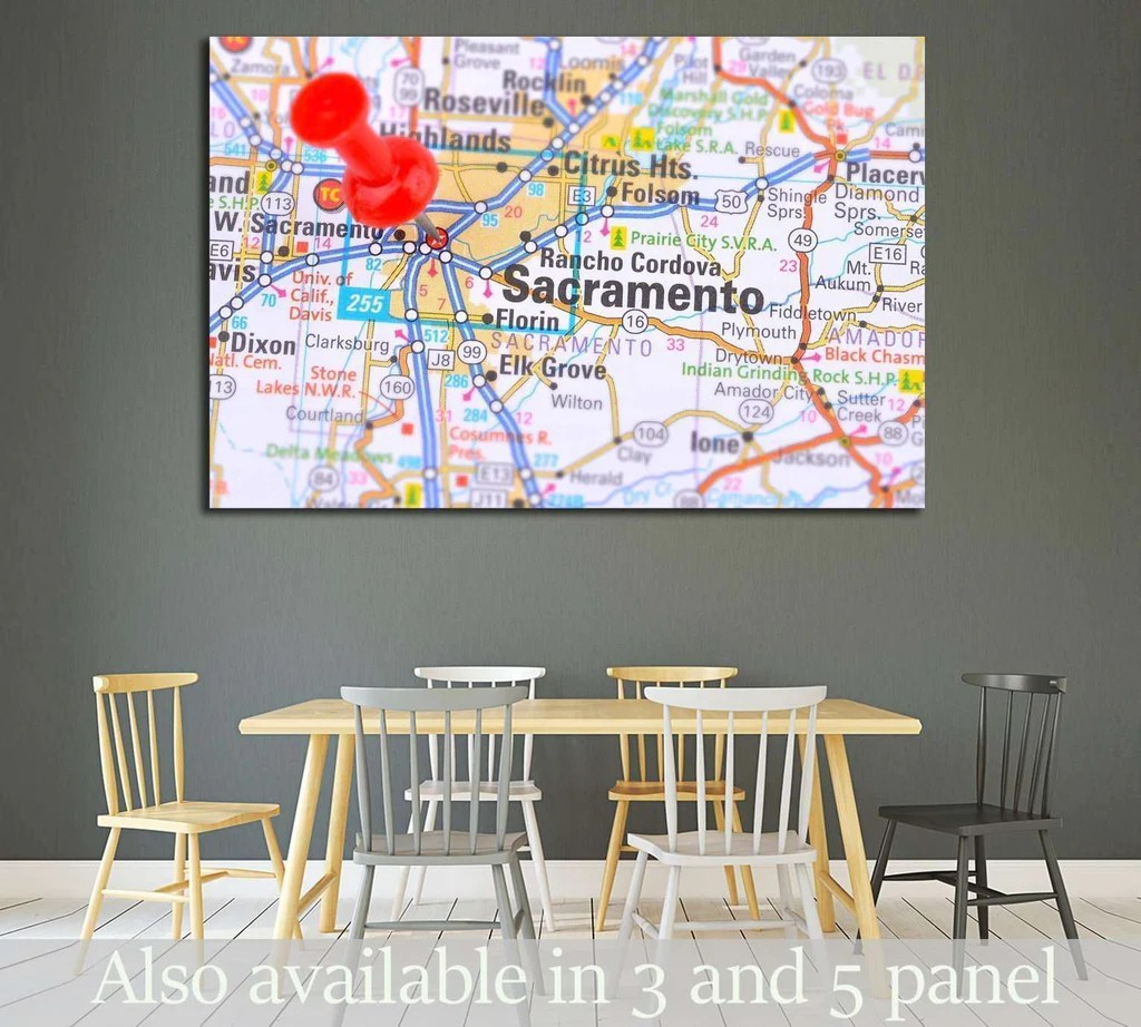 Sacramento and Map       1818 Ready to Hang Canvas Print     Zellart Sacramento and Map       1818 Ready to Hang Canvas Print