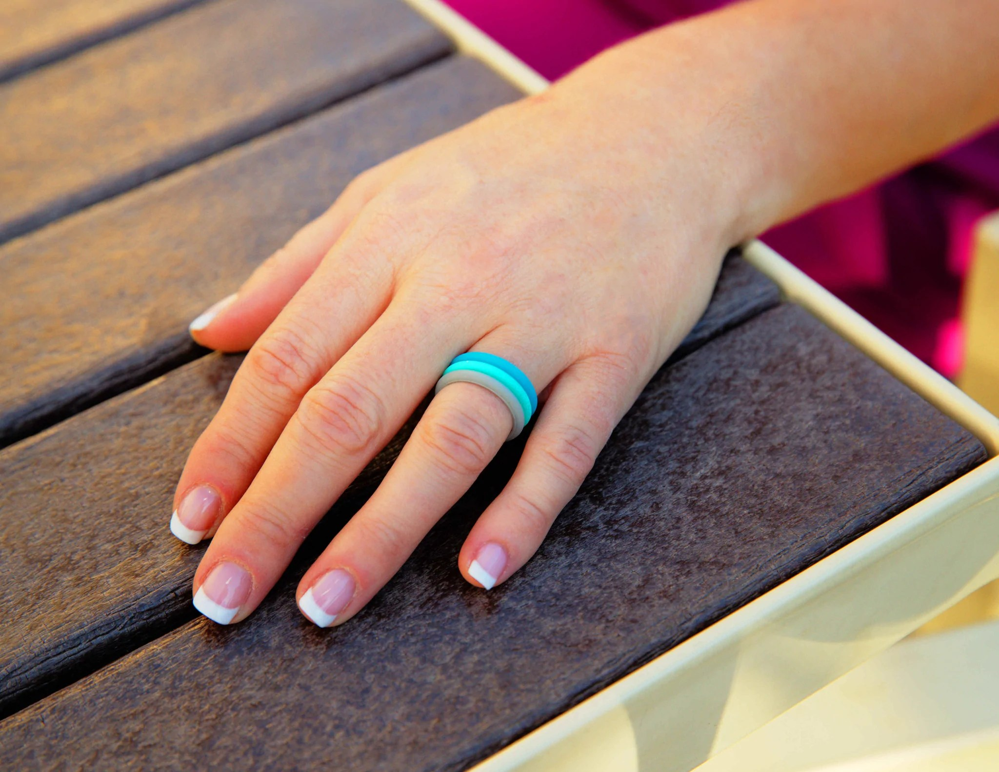 stackables women s silicone ring neon blue stackable wedding bands Stackables Women s Silicone Ring Neon Blue