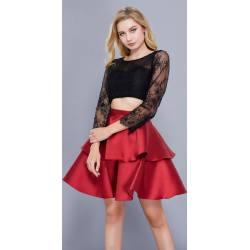 Smartly Black Red Skirt Homecoming Dress Long Sleeves Black Red Skirt Homecoming Dress Long Sleeves Long Sleeve Homecoming Dresses Sheath Long Sleeve Homecoming Dresses Black