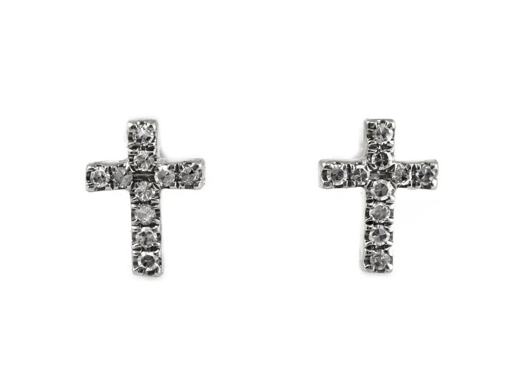 0 05ct Round Micro Pavé Diamond in 14k Gold Mini Cross Stud Earrings