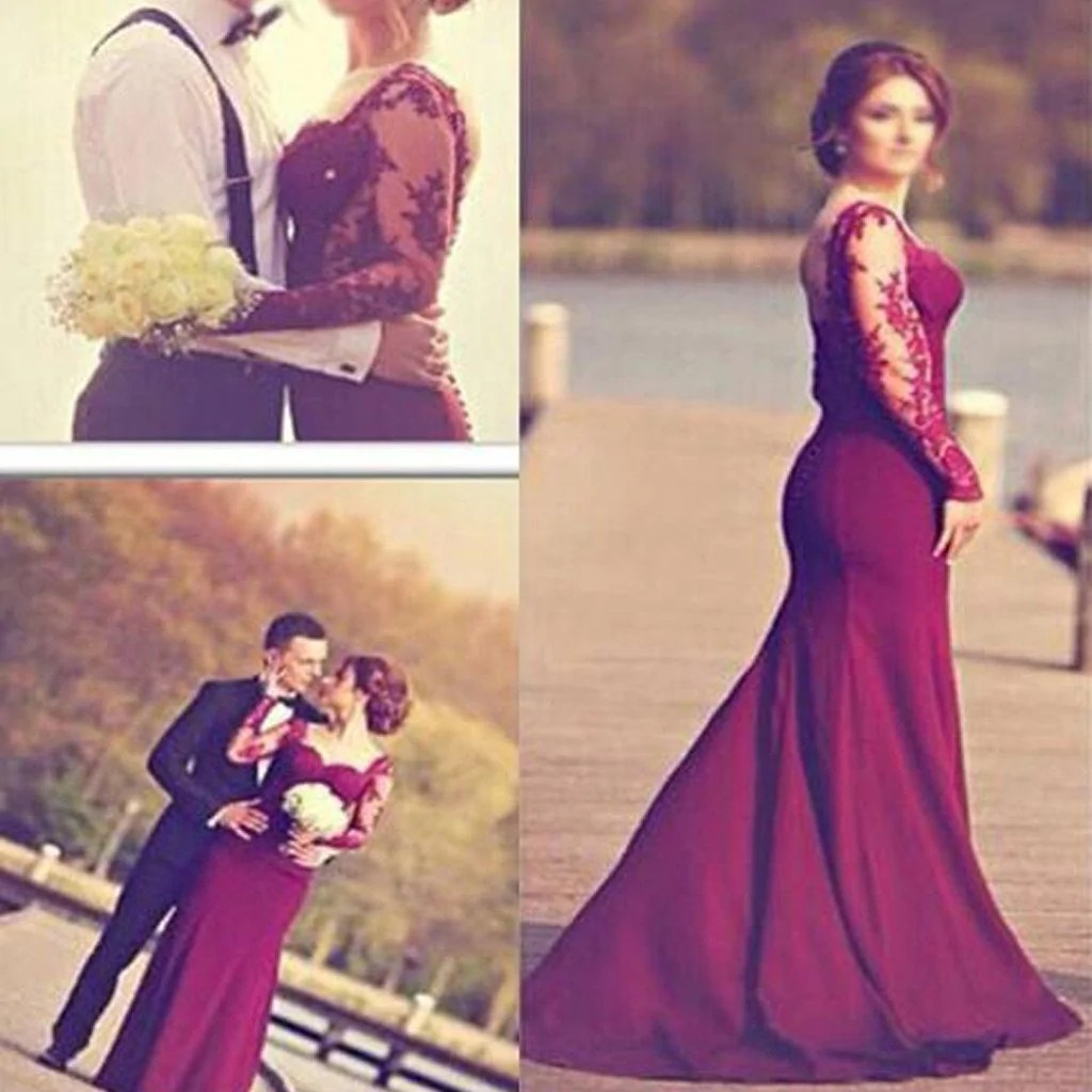 Cozy Burgundy Jersey Long Sleeve Lace Wedding Prom Burgundy Jersey Long Sleeve Lace Wedding Prom Long Sleeve Lace Wedding Dress Backless Long Sleeve Lace Wedding Dress Fitted wedding dress Long Sleeve Lace Wedding Dress