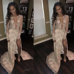 Sightly Sexy Deep See Through Shinny Lace Beaded Sexy Side Slit Long Sleeveprom Sexy Deep See Through Shinny Lace Beaded Sexy Side Slit Long See Through Dresses Band Tour See Through Dresses Online