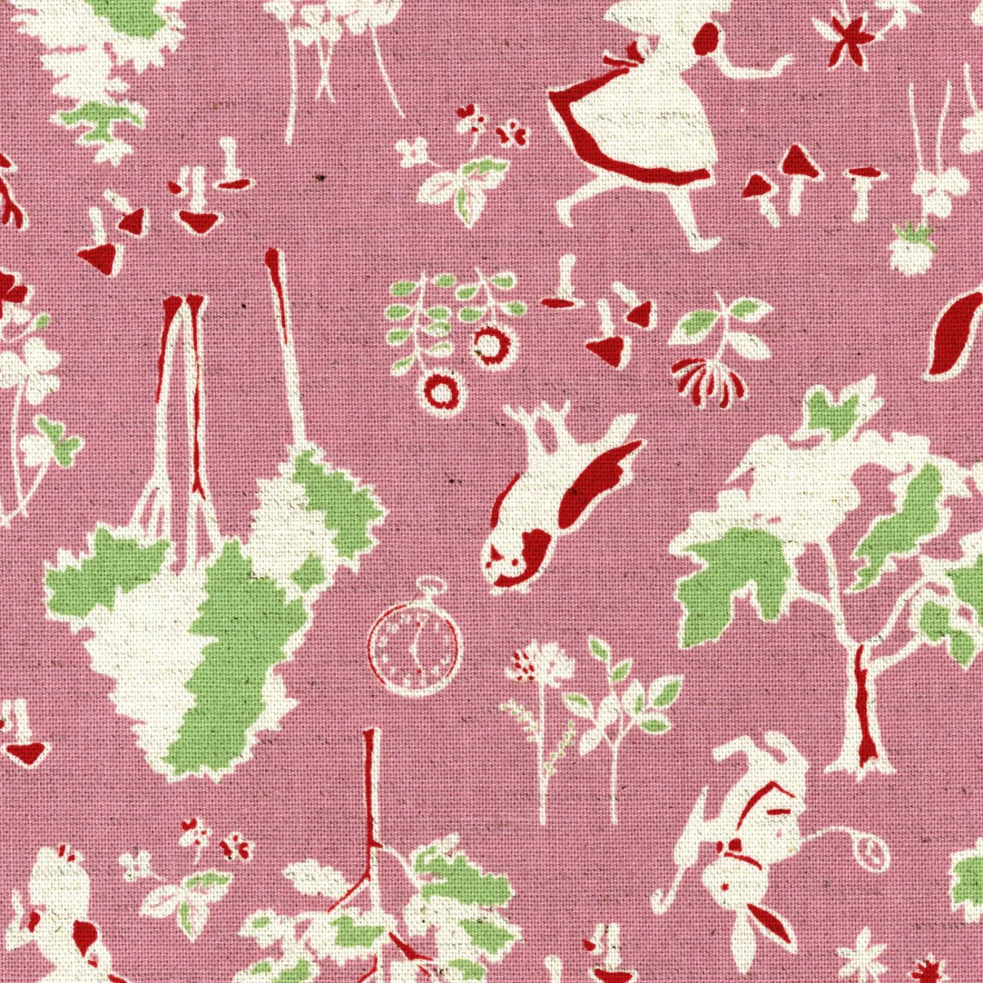 Interesting Deer Rabits Owls Wonderland Fabric Pink Fabric Spindleandrose This Canvas Fabric From Art Alice Alice Explores Wonderland Squirrels houzz-02 Alice In Wonderland Fabric