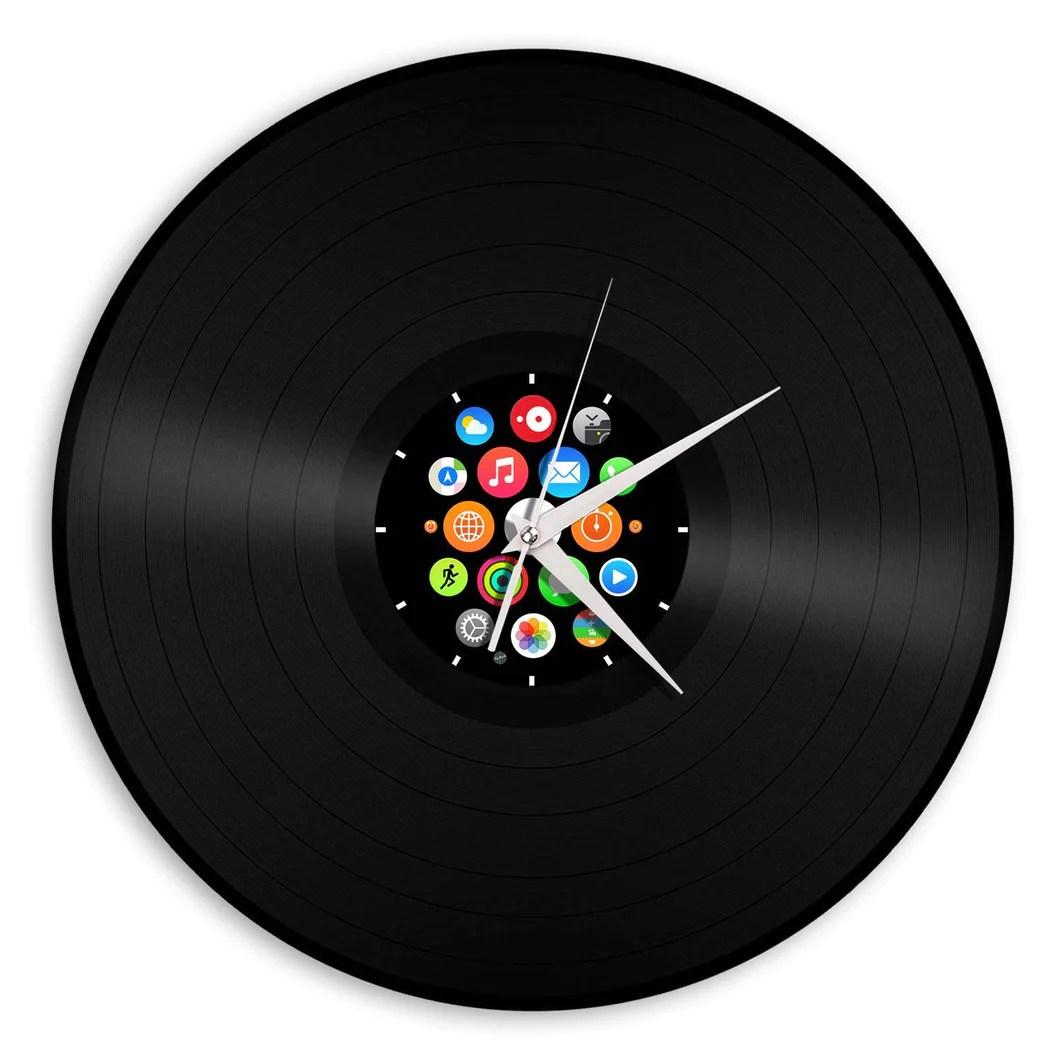 Supple Iwatch Vinyl Wall Clock Icons Tech Lovers Record Wall Clock Zeon Tech Wall Clocks Tech Wall Clock furniture Tech Wall Clock