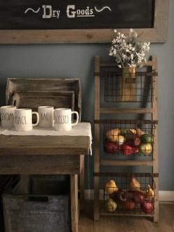 Innovative Wire Baskets Rustic Shabby Farmhouse Home Decor Vintage Farm Home Decor Wooden Ladder Shelf
