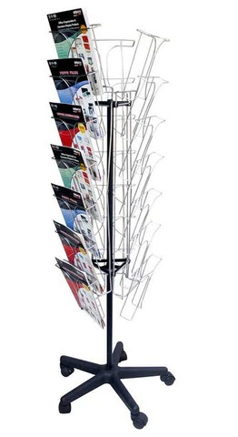 Chrome A4 Brochure Rotating Floor Stand 7 Tier x 3     Shopfittingsrus     Chrome A4 Brochure Rotating Floor Stand 7 Tier x 3