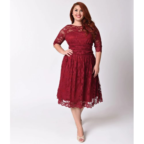 Medium Crop Of Red Lace Dress