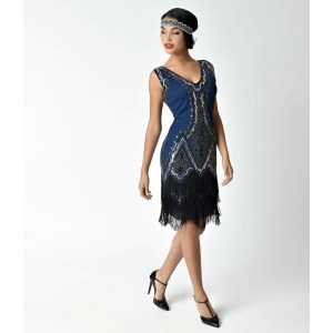 Enticing Vintage 1920s Style Navy Blue Beaded Sylvie Flapper Dress 2 1024x1024 Navy Blue Cocktail Dress Philippines Navy Blue Cocktail Dresses Petite