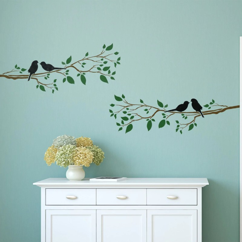 Large Of Birds On A Branch