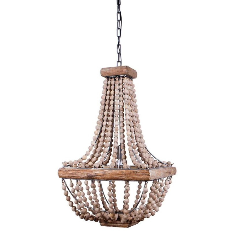 Large Of Wood Bead Chandelier