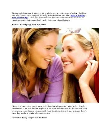 Rules of lesbians in porn relationships