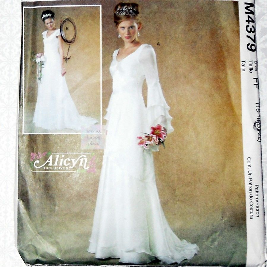 bridal gown sewing pattern plus size cascade sleeves and hem romantic wedding mccalls wedding dress sewing patterns Bridal Gown Sewing Pattern Plus Size Cascade Sleeves and Hem Romantic Wedding McCalls