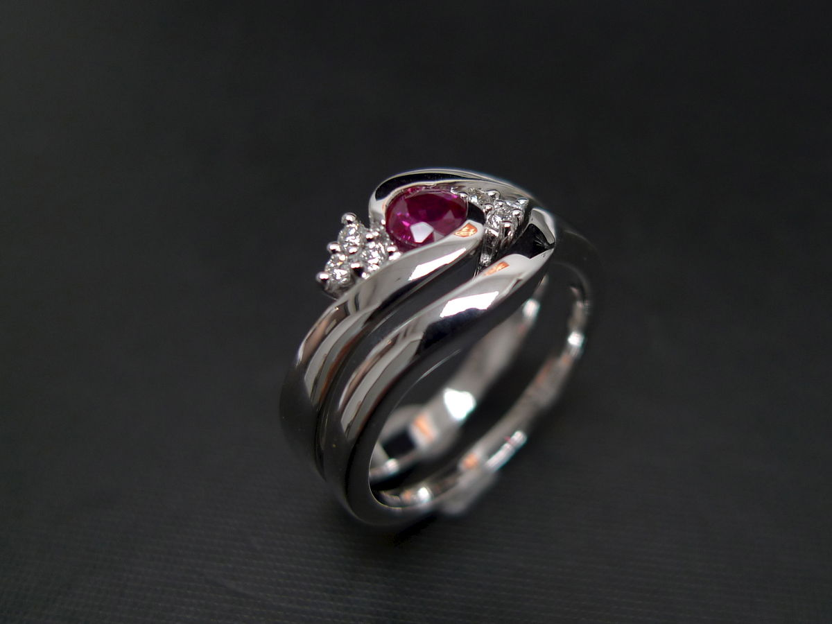 set of two diamond ruby engagement ring and wedding band ruby wedding rings Set of TWO Diamond Ruby Engagement Ring and Wedding Band