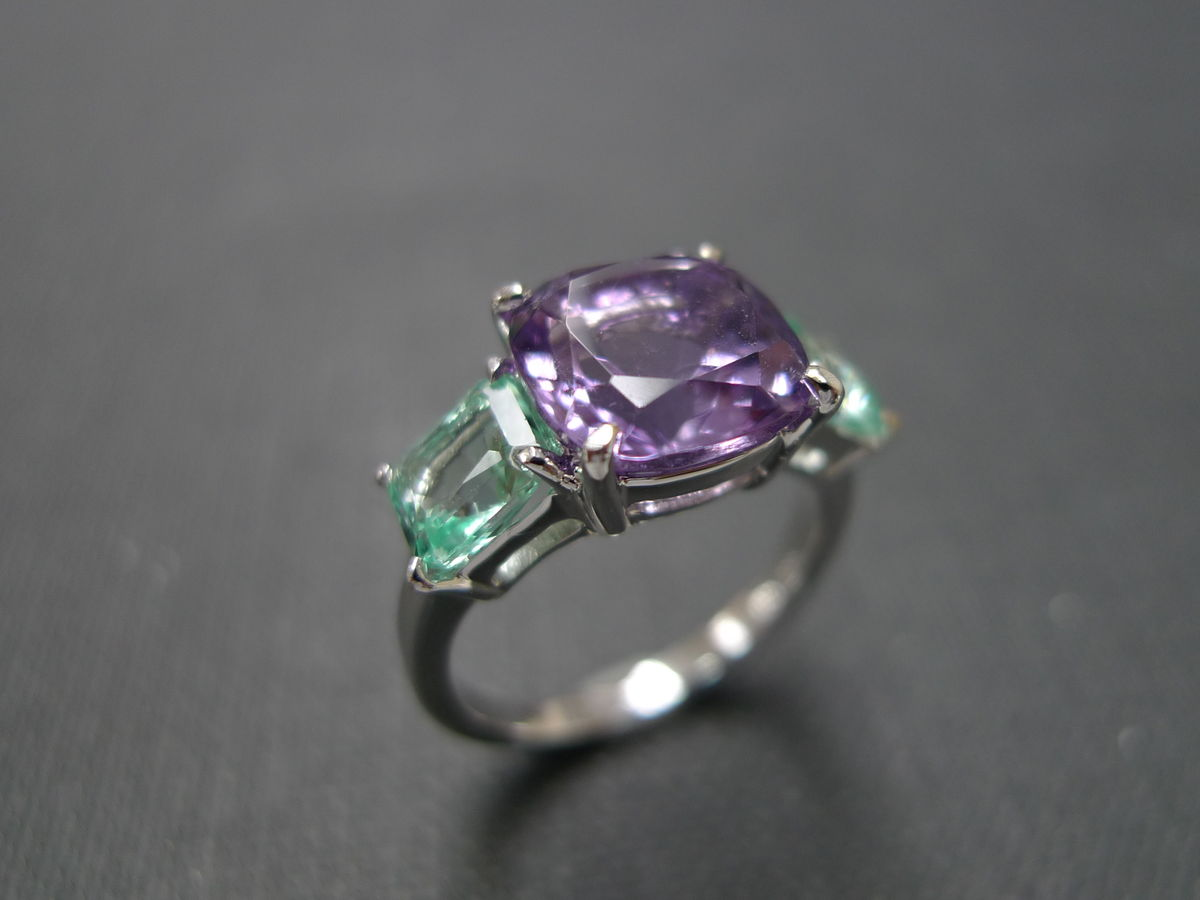 amethyst engagement ring with green quartz purple wedding rings Amethyst Engagement Ring with Green Quartz