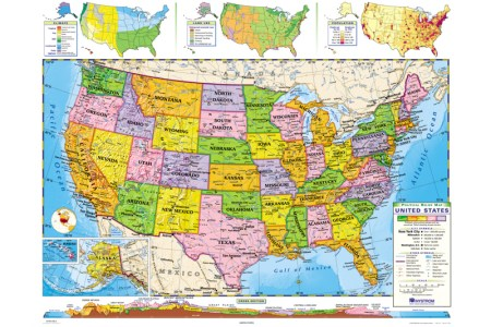 united states political roller map, social studies