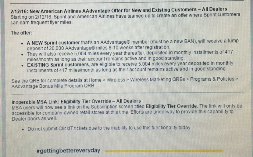 Sprint and AA are offering new and existing customers AAdvantage miles.