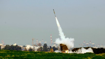 Iron Dome system in action as it intercepts rockets fired from Gaza in October 2012 (photo credit: Flash90/File)