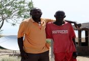 Aila Dergich and TBI collections manager Cyprian Nyete at the Koobi Fora field station: Photo by Lawrence Nzuve