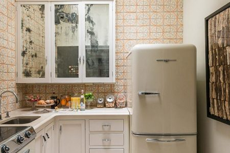 small kitchen with retro fridge and italian style tile 900x1125