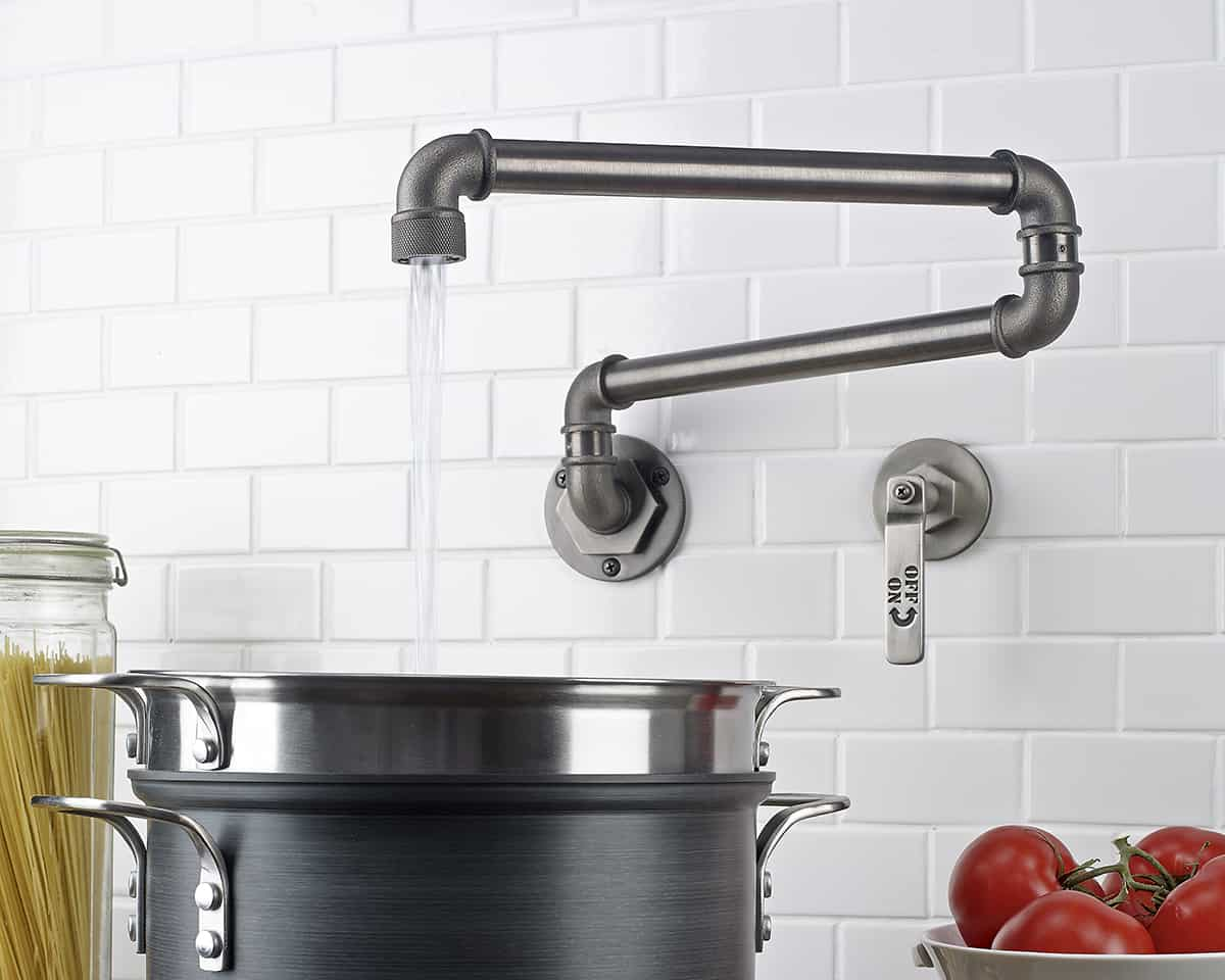 industrial style faucets by watermark to give your plumbing the cool look you always wanted industrial kitchen faucet View in gallery watermark elan vital wall mount pot filler 7