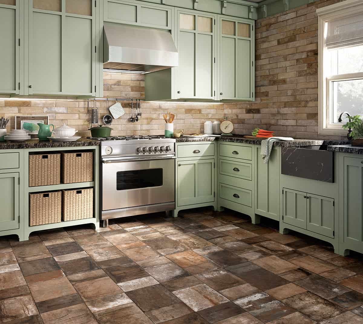 beautiful tile flooring ideas for living room kitchen bathroom designs tile for kitchen floor View in gallery terracotta effect flooring tile kitchen terre nuove santagostino