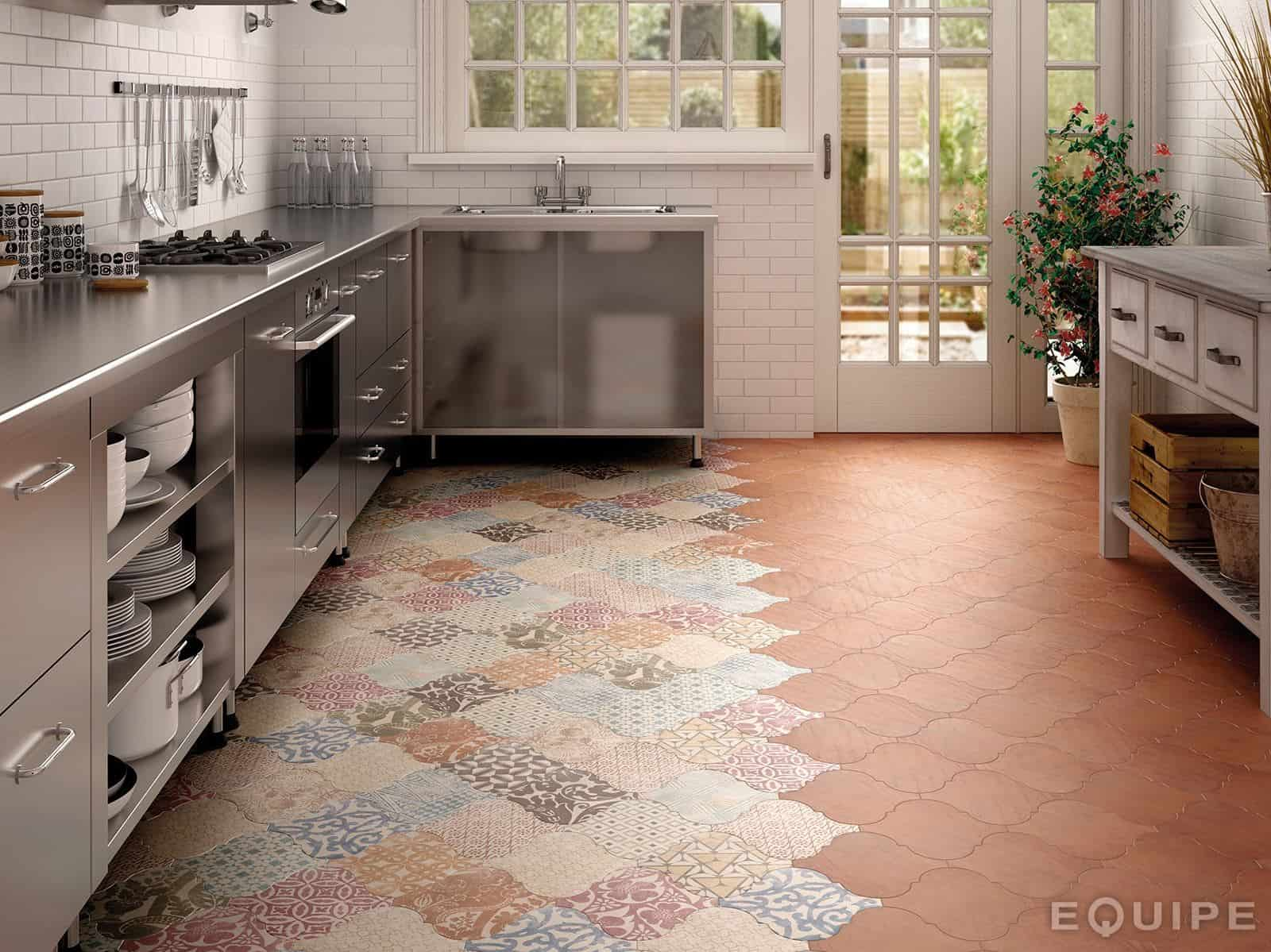 21 arabesque tile ideas for floor wall and backsplash kitchen floor tiles View in gallery arabesque tile kitchen floor patchwork equipe 4