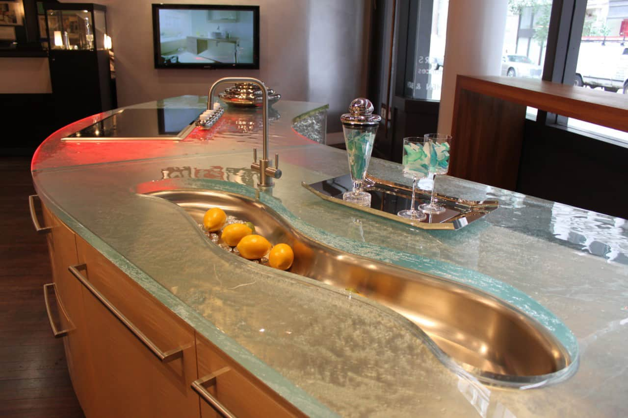 modern kitchen countertops from unusual materials best kitchen countertops View in gallery modern countertops unusual material kitchen glass 4