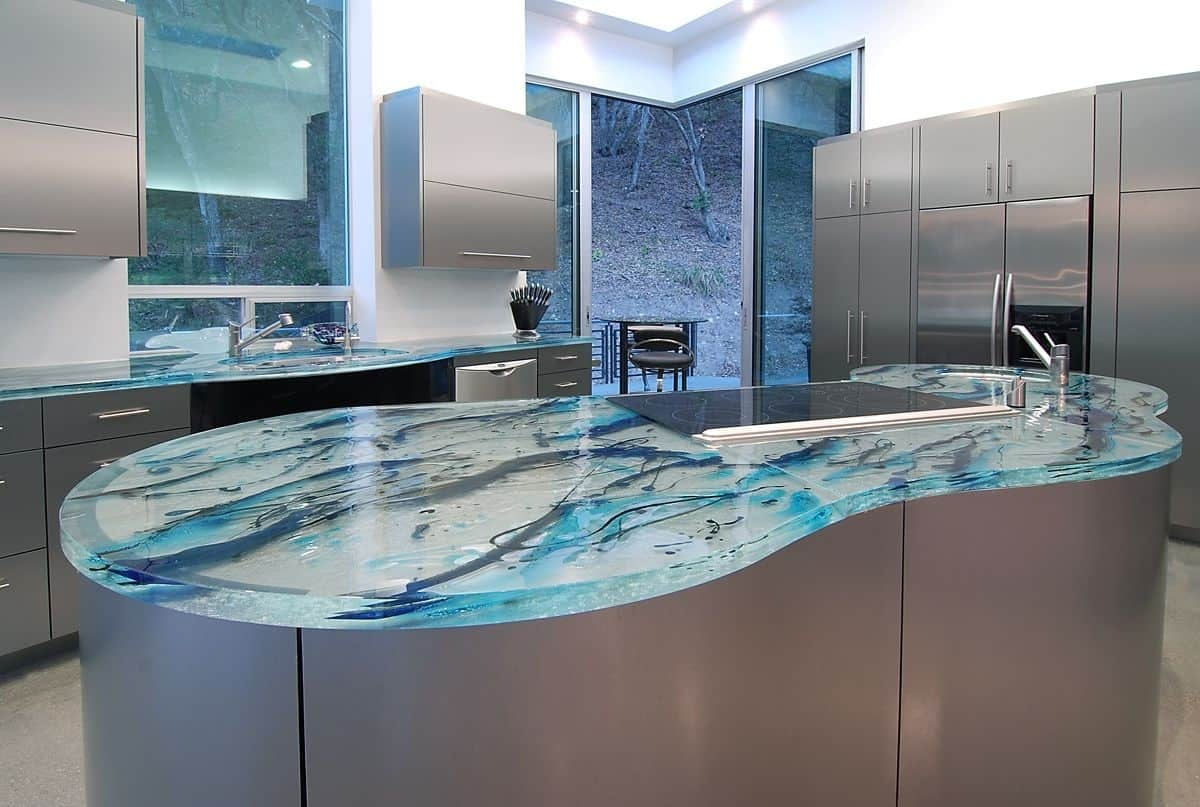 modern kitchen countertops from unusual materials kitchen countertop materials View in gallery modern countertops unusual material kitchen glass 6