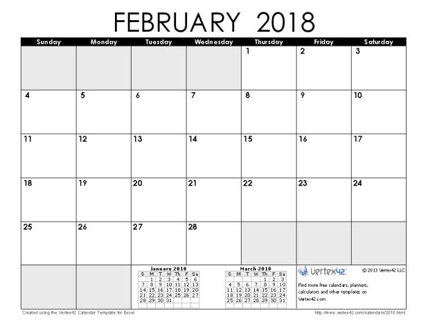 Calendar 2018 Malaysia February | Printable Editable Blank ...