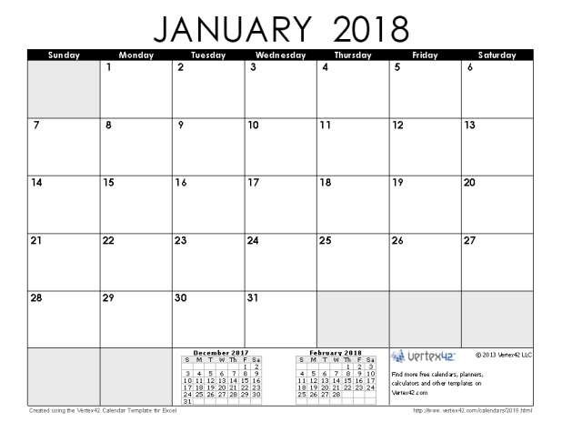 January 2018 Calendar Google Sheet | Printable Editable Blank ...