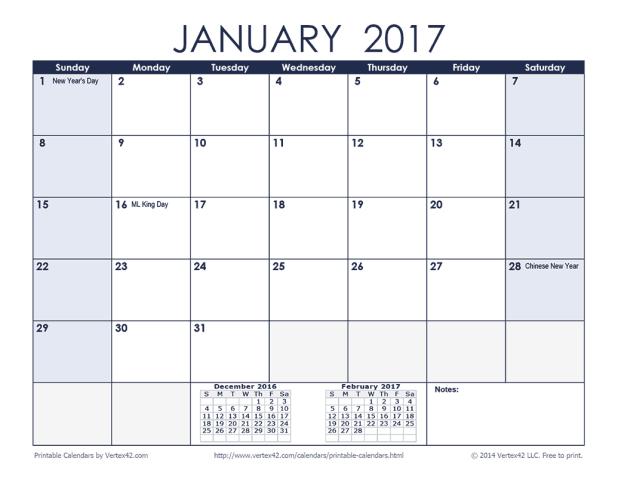 January 2018 Calendar Blue | Printable Editable Blank Calendar 2018