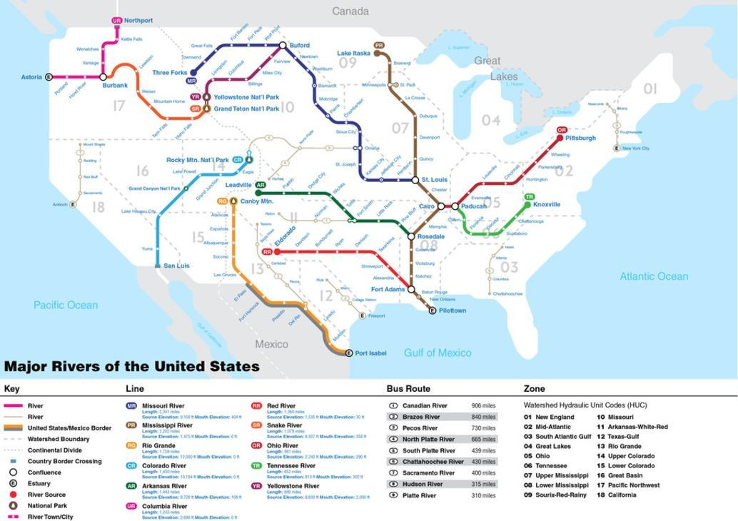Map Of Rivers In The Us - Us map with oceans and rivers