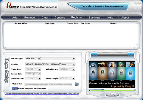 apex 3gp converter screen Convertir videos mpg a 3gp (celulares), Apex Free 3GP Video Converter