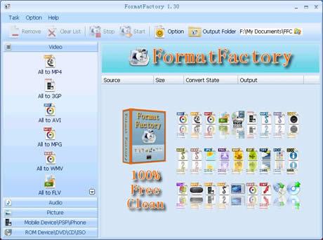 convertidor Convertir mp3, video, 3gp y mas con FormatFactory
