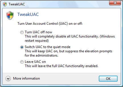 tweakuac Desactivar UAC en Windows vista con TwekUAC