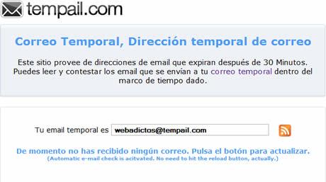 evitar spam Correos temporales en Tempail