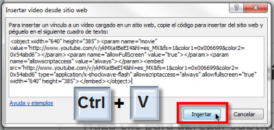 insertar codigo video youtube Insertar videos de Youtube en Power Point 2010