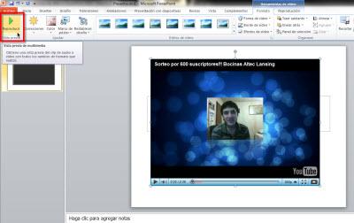 vista previa video Insertar videos de Youtube en Power Point 2010