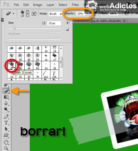 borrar seleccion photoshop Crear una cinta adhesiva en Photoshop