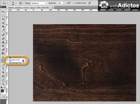 burn tool photoshop Crear grabado de madera en Photoshop