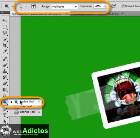 dodge tool photoshop Crear una cinta adhesiva en Photoshop